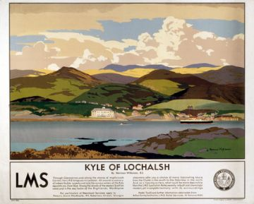 Scottish Railway Travel Art Poster, Kyle of Lochalsh by Norman Wilkinson and LMS